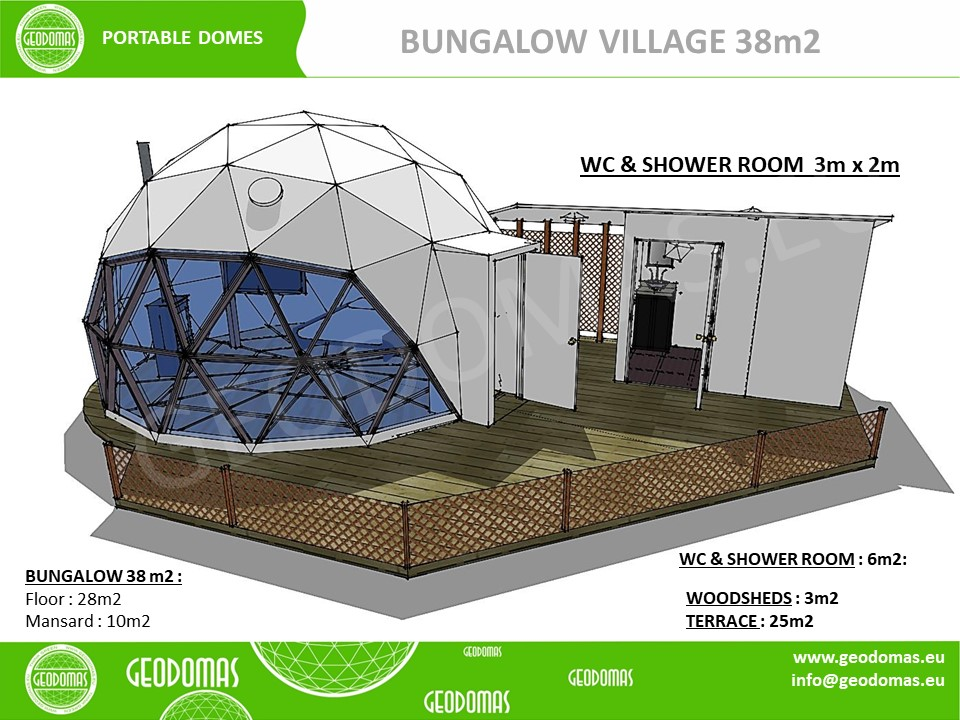 47m² Ø6m Glamping Village   Туалет и душевая