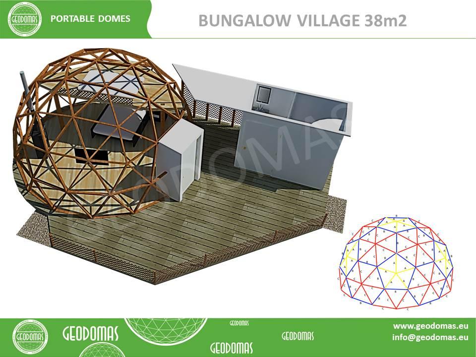 Бунгало типа мобильный домик 38m2 | Все сезонный купол