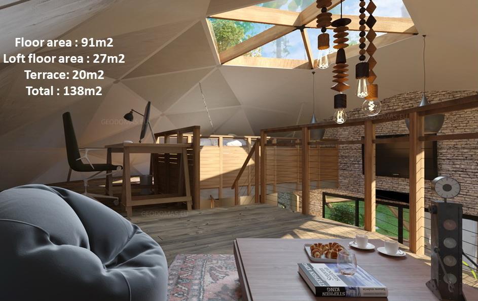 138м2 Ø12м Семейный геодезический дом