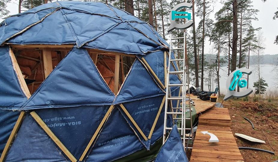20м2 Ø5м Небольшой дом | Древесина геодезическая | Комплект для строительства купола
