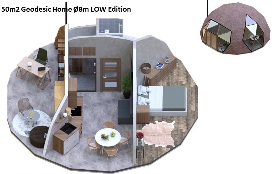 50м2 Ø8м геодезический дом | LOW Edition | Комплект для строительства купола