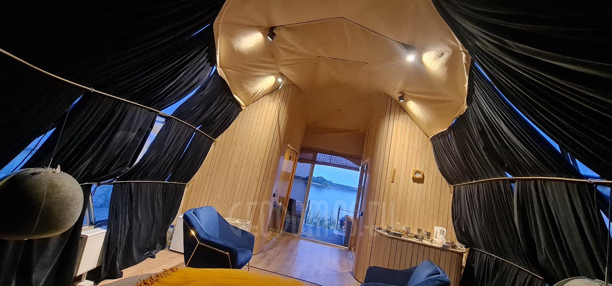 27m² Ø7m Плавающий купол, Роскошная яхта для глэмпинга   Тракай, Литва