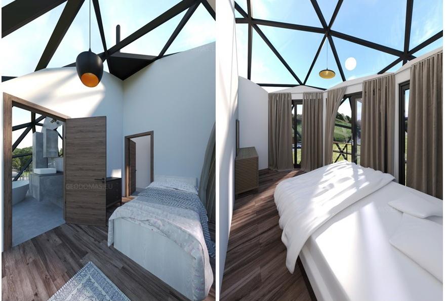 183м2 Ø11м Стеклянный купол защитит двухэтажный дом